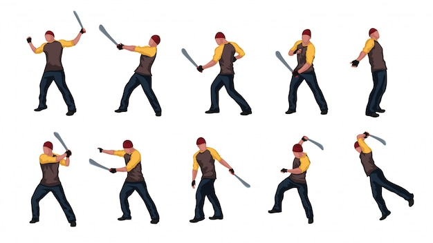 Uomo con machete set 02