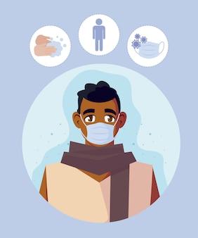 Uomo con mascherina medica
