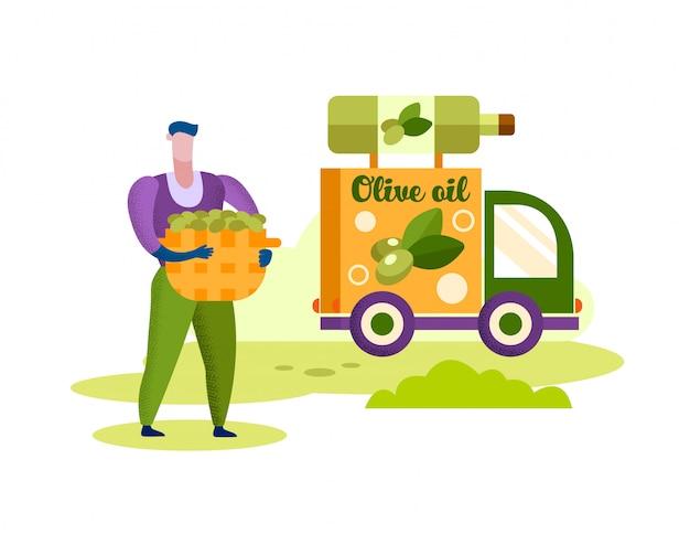 Uomo con olive da cesto. camion con bottiglia di olio.