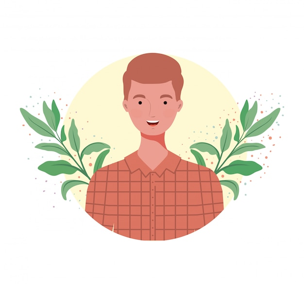 Uomo con paesaggio di rami e foglie