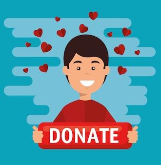Uomo con pensione per donazione di beneficenza