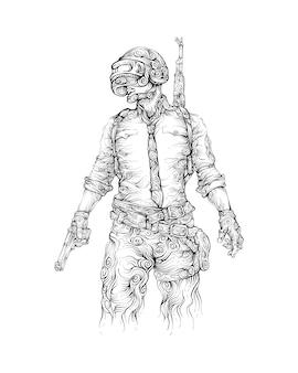 Uomo con pistola a mano, casco e fucile d'assalto disegno a mano
