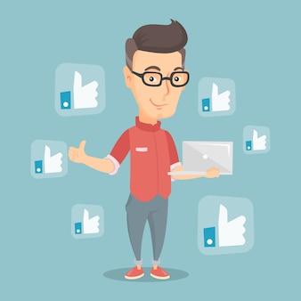 Uomo con pulsanti social network simili.