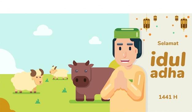 Uomo con saluto peci selamat idul adha eid al adha mohon maaf lahir dan batin con mucca marrone pecora bianca e capra su erba orizzontale piatta