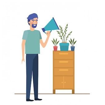 Uomo con scaffalature in legno sull'icona bianca