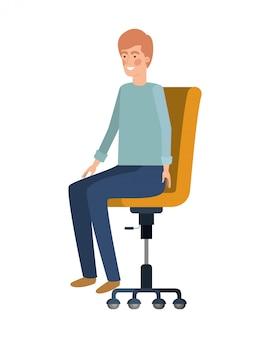 Uomo con seduta nel personaggio di avatar sedia ufficio