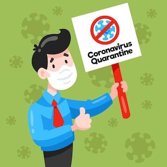 Uomo con segno di quarantena maschera e coronavirus