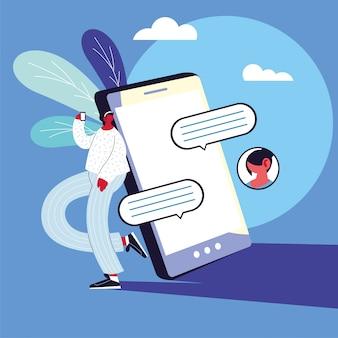 Uomo con smartphone in chat, bolla di chat
