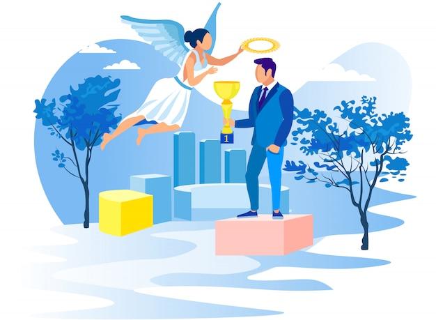 Uomo con tazza su piedistallo e ragazza angelo. vettore.