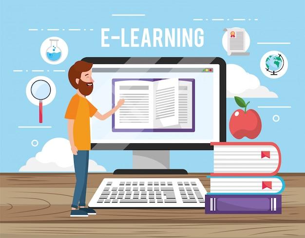 Uomo con tecnologia informatica e libri con la mela
