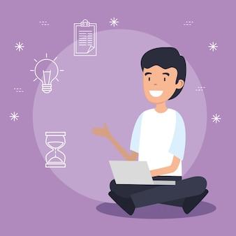 Uomo con tecnologia laptop e dati informativi