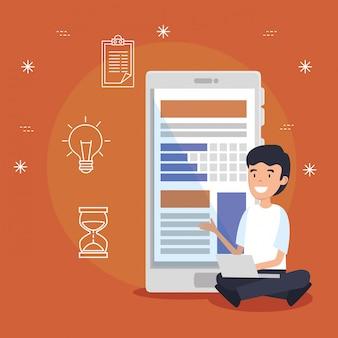 Uomo con tecnologia smartphone e informazioni sui documenti