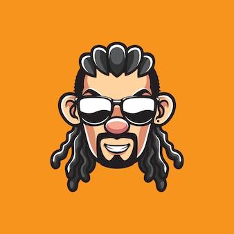 Uomo con testa di occhiali da sole