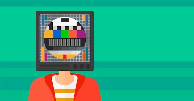 Uomo con testa di tv.