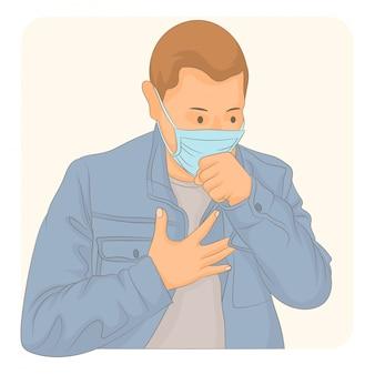 Uomo con tosse maschera medica