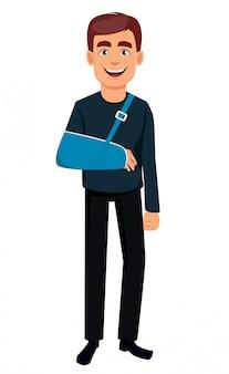 Uomo con un braccio rotto