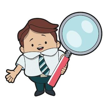 Uomo con una lente d'ingrandimento alla ricerca