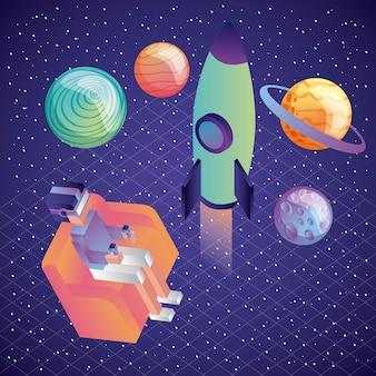 Uomo con vr auricolare gioco di pianeti razzo galassia