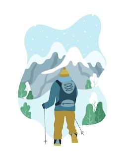 Uomo con zaino escursioni in cima alla montagna.