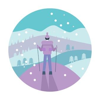 Uomo con zaino trekking in montagna.