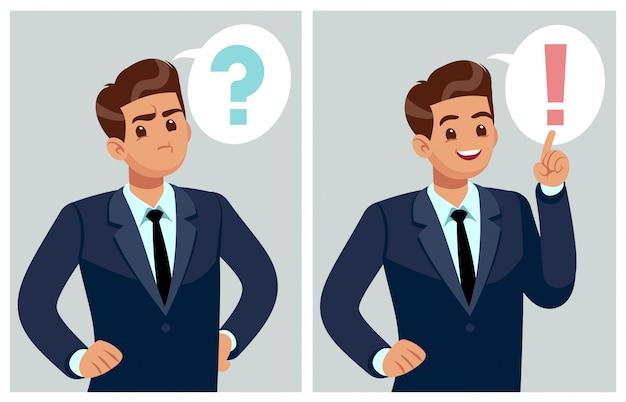 Uomo confuso il giovane uomo d'affari, lo studente che pensa, capisce il problema e trova la soluzione. persone preoccupate e dilemma