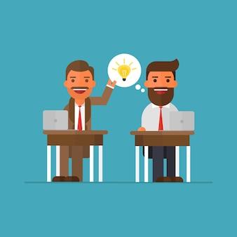 Uomo d'affari che ruba l'idea della lampadina il suo collega