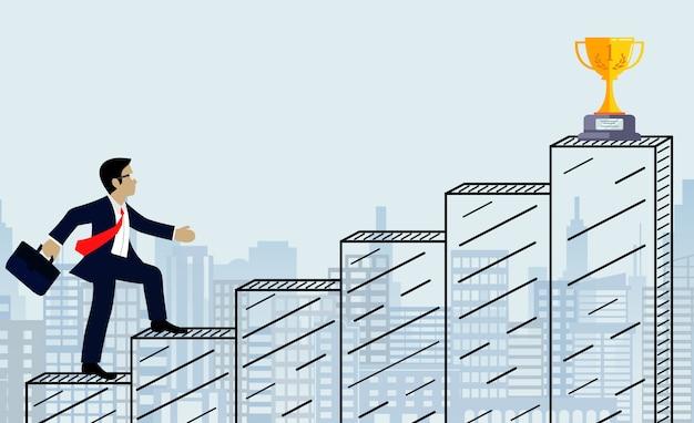 Uomo d'affari a piedi su per le scale verso l'obiettivo. sullo sfondo della città