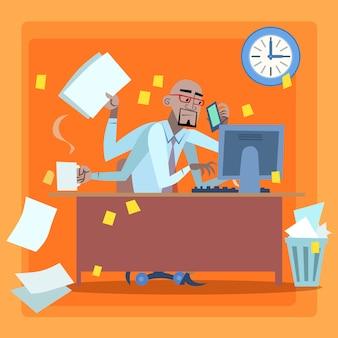 Uomo d'affari africano caricato con la gestione del tempo di lavoro