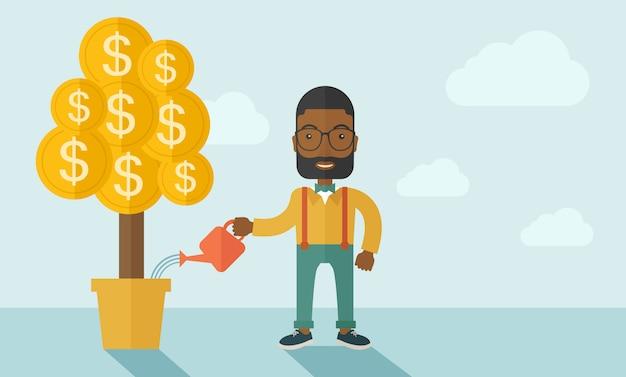 Uomo d'affari africano che innaffia felicemente l'albero dei soldi.
