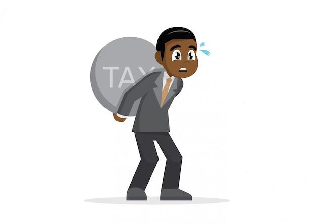 Uomo d'affari africano che trasporta tassa pesante.
