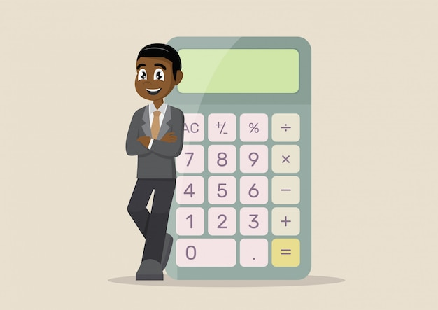 Uomo d'affari africano con calcolatrice.
