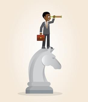 Uomo d'affari africano sopra il pezzo degli scacchi del cavallo facendo uso del telescopio che cerca successo.