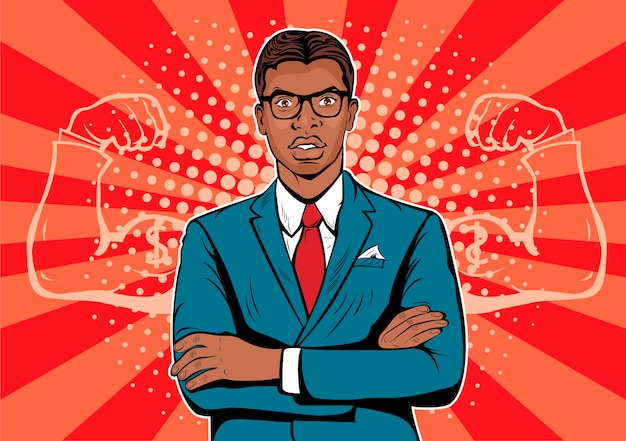 Uomo d'affari afro americano di pop art