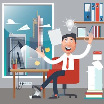 Uomo d'affari al lavoro. l'uomo aveva un'idea. colletto bianco in carica. uomo d'affari di successo. illustrazione vettoriale