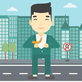 Uomo d'affari aprendo la giacca come supereroe.