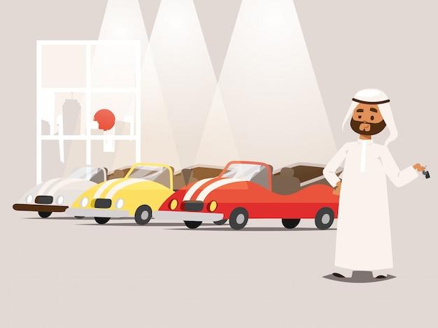 Uomo d'affari arabo che indossa abbigliamento tradizionale vicino all'illustrazione del parcheggio. personaggio dei cartoni animati musulmano