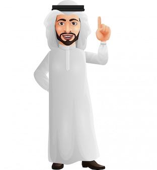 Uomo d'affari arabo del fumetto che indica in su