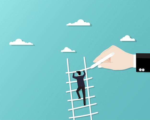 Uomo d'affari arrampicata su scala