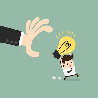 Uomo d'affari cercando di rubare un'idea