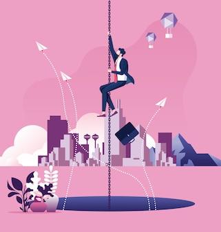 Uomo d'affari che appende su una fuga di catena sopra un grande buco. concetto di rischio d'impresa