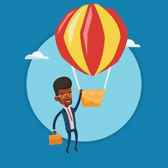 Uomo d'affari che appende sull'illustrazione di vettore del pallone