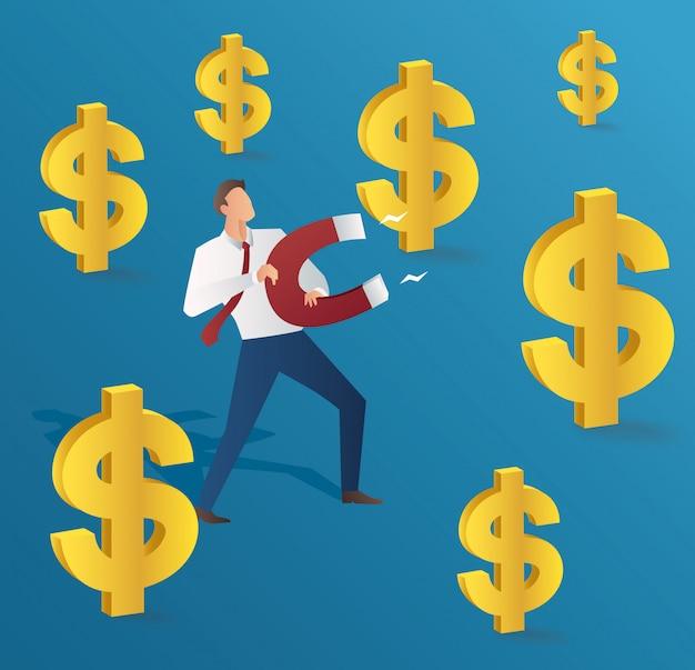 Uomo d'affari che attrae il dollaro d'oro