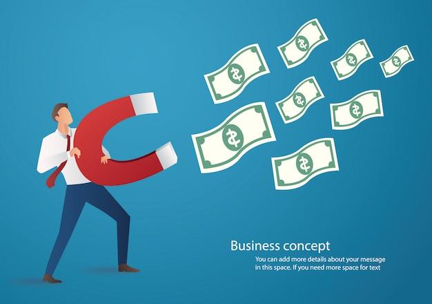 Uomo d'affari che attrae l'icona di denaro con grande magnete