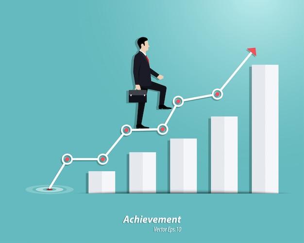 Uomo d'affari che cammina fino ai punti o al grafico di successo