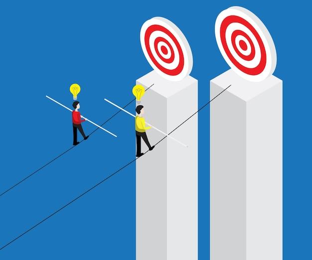 Uomo d'affari che cammina sulla corda con il bastone dell'equilibrio all'obiettivo