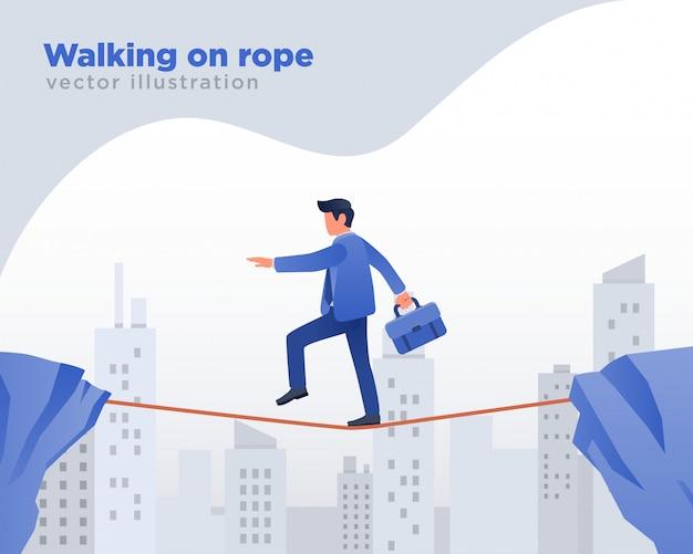 Uomo d'affari che cammina sulla corda, illustrazione di sfida