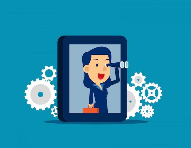Uomo d'affari che cerca obiettivo con lo smartphone. stile di personaggio dei cartoni animati di capretto piatto