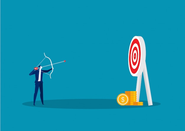Uomo d'affari che colpisce obiettivo con l'arco e la freccia per mirare al vettore di concetto.
