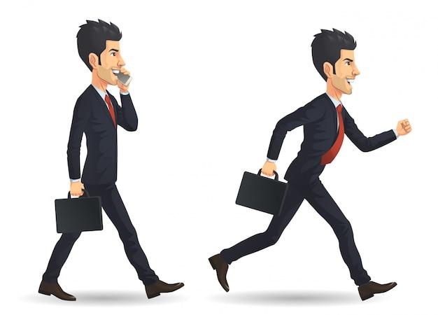Uomo d'affari che corre e cammina