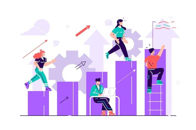 Uomo d'affari che corre giù per le scale verso l'obiettivo sotto forma di una bandiera. pianificazione della carriera. concetto di sviluppo della carriera. lavoro di squadra. illustrazione di stile piano per pagina web, social media, documenti.
